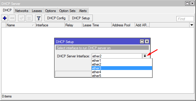 DHCP Server in Interface Ether3