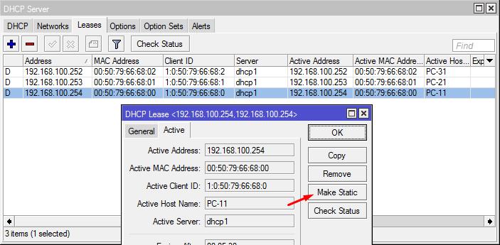 DHCP Server - Make Static