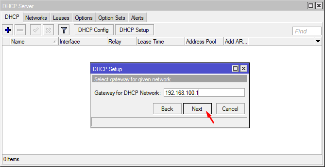 Gateway for DHCP Network