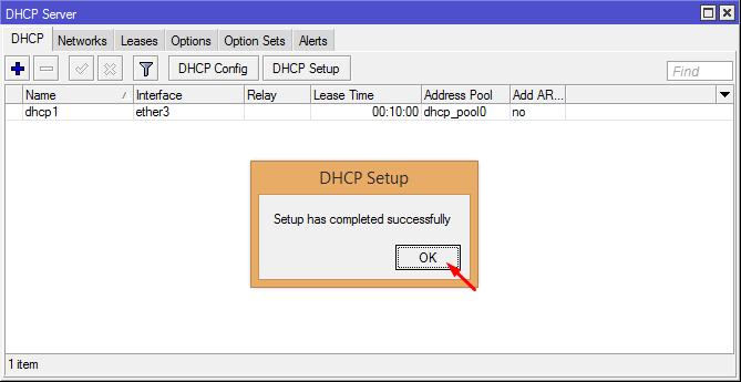 DHCP Server Setup Completed
