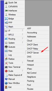 Menu DHCP Server MikroTik - Winbox