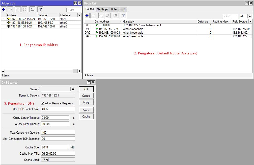 Pengaturan IP Address, Default Route dan DNS