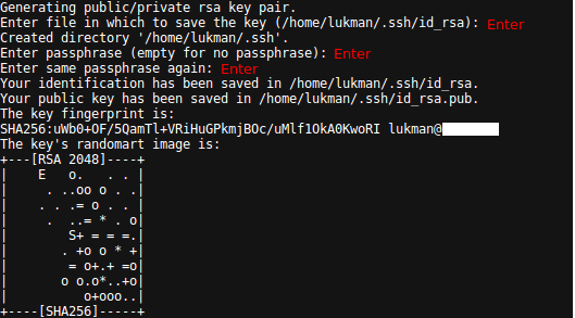 Process Generate SSH Key