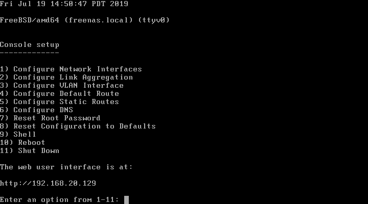 FreeNAS Console